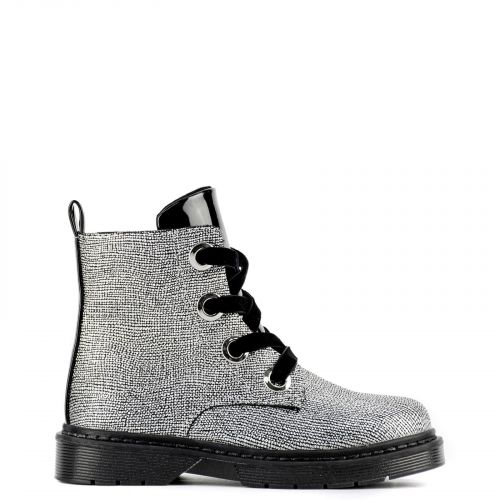 Kid's silver bootie with velvet laces