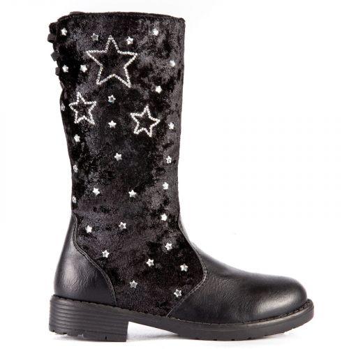 Μαύρη παιδική μπότα με αστέρια