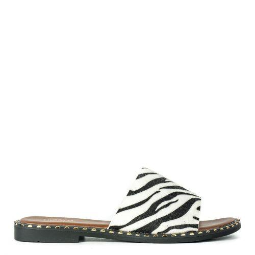 Black and white flat sandal with zebra animal print