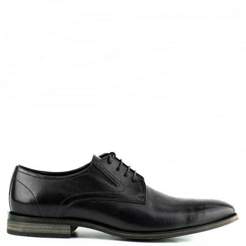 Men's black leather derby shoe