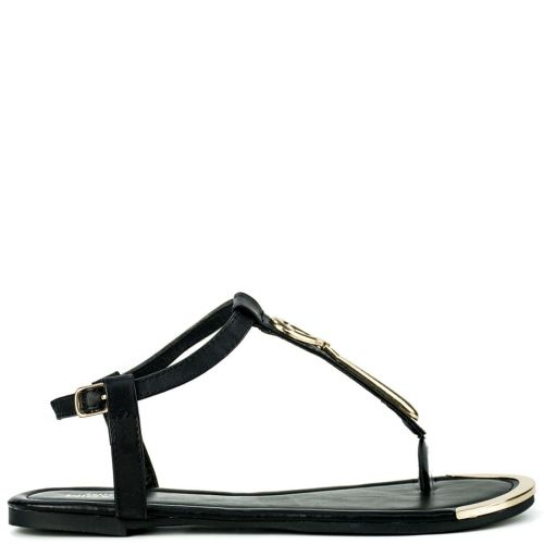 Black sandal with metal decoration