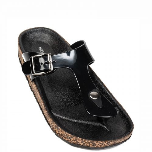 Black flip-flop with buckle