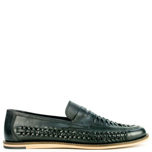 Leather black shoe with woven design