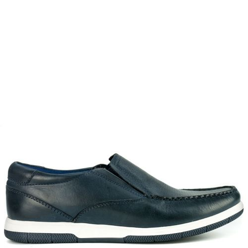 Leather navy boat shoe