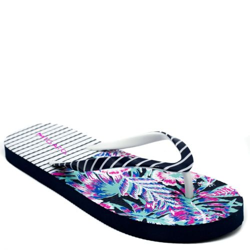 Women's navy flip-flop with stripes
