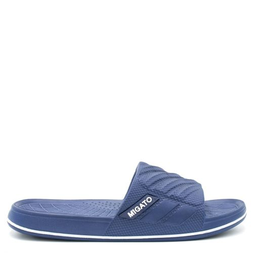 Men's navy slides with embossed band