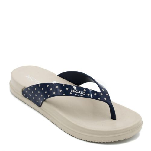 Women's navy flip-flop with polka dot thong
