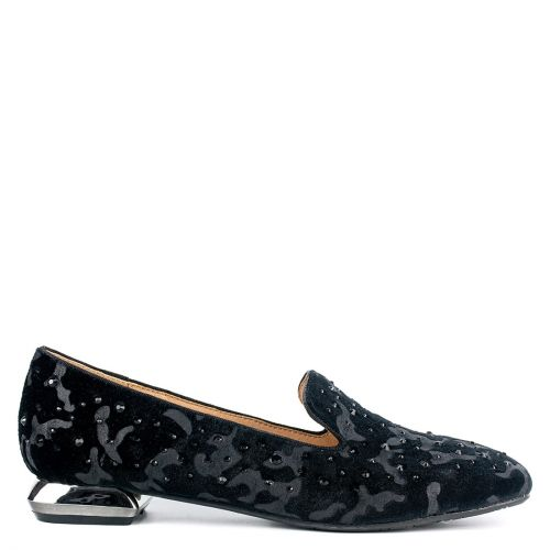 Black velvet with loafer with rhinestones