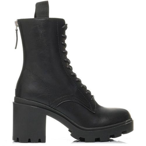 Black lace up high heel bootie