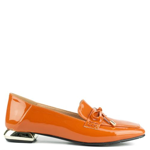 Orange loafer with metallic heel