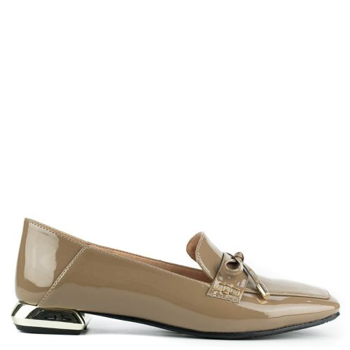 Taupe loafer with metallic heel