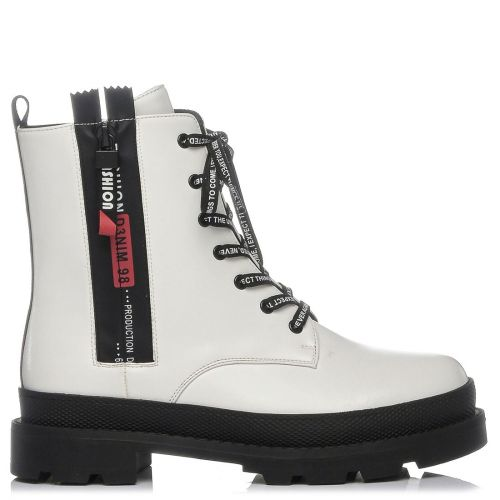 White platform army boot