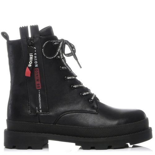 Black platform army boot