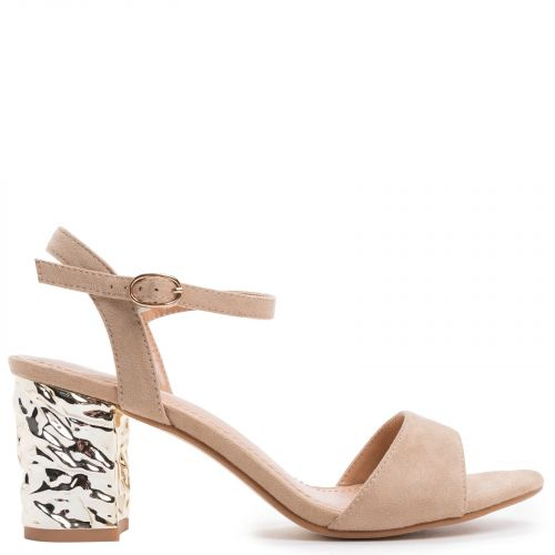 Beige sandal with metallic heel