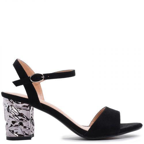 Black sandal with metallic heel