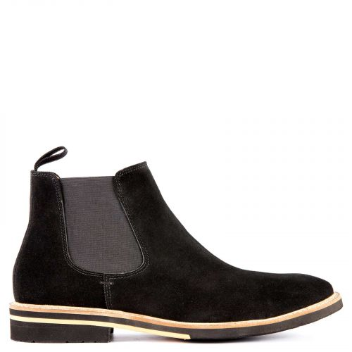 Black suede leather men's low cut boot
