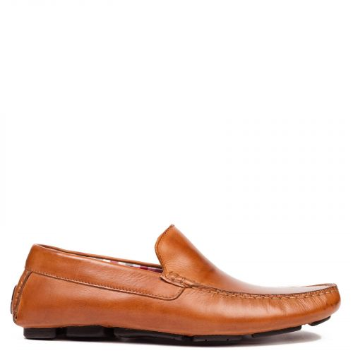 Men's tabacco leather mocassin