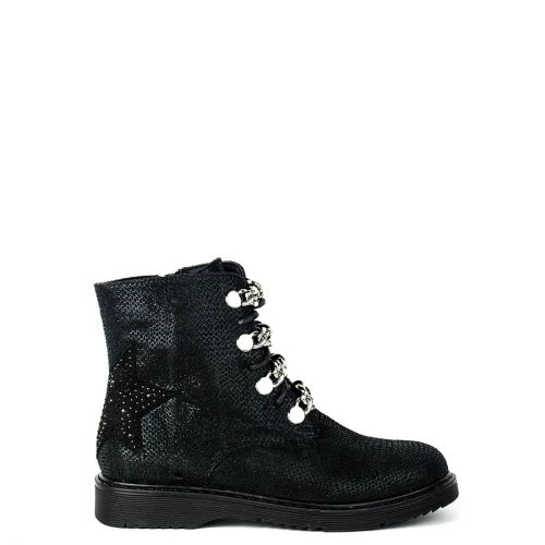 Kid's black bootie with chains
