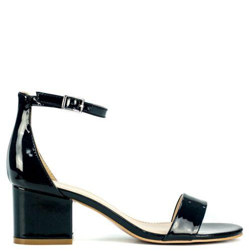 Black sandal in patent