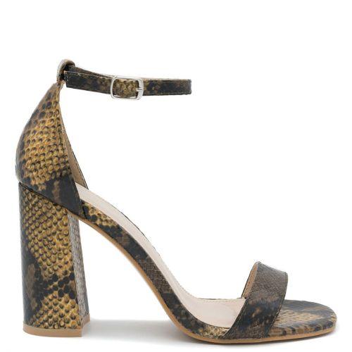 Yellow snakeskin high heel sandal