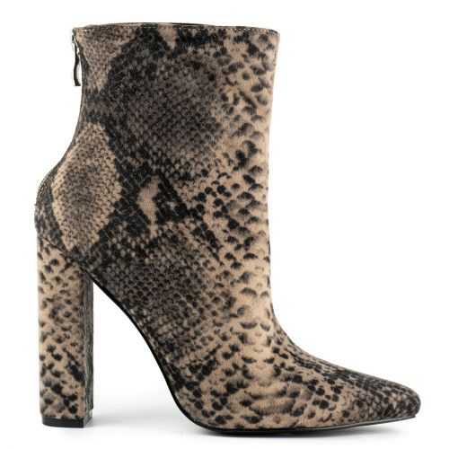 Taupe snakeskin bootie in suede