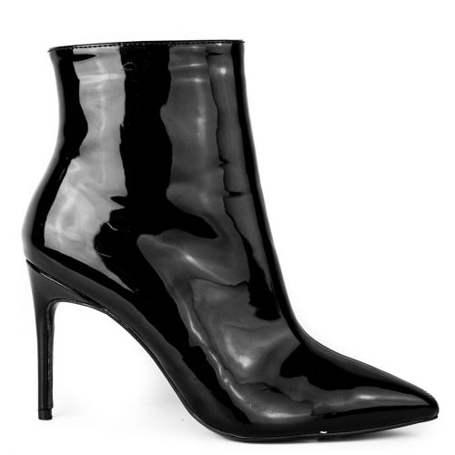 Black patent high heel bootie