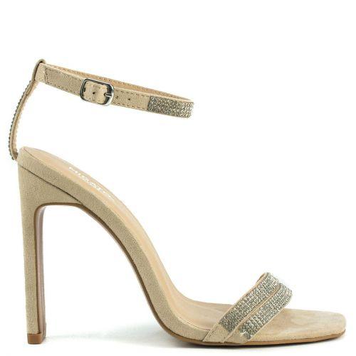 Nude sandal with rhinestones