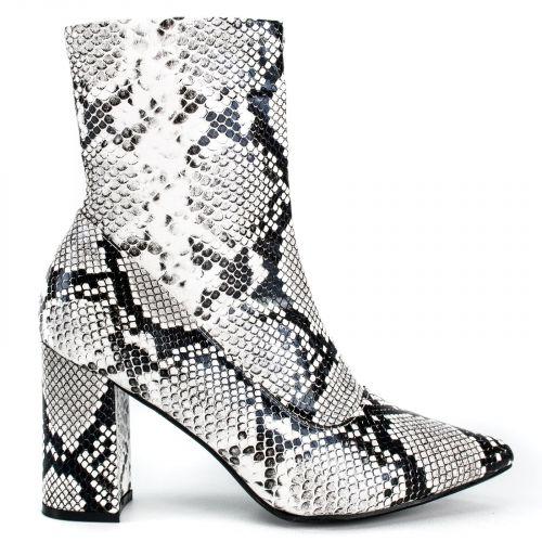 Snakeskin high heel bootie