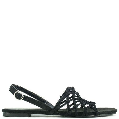 Black suede flat sandal