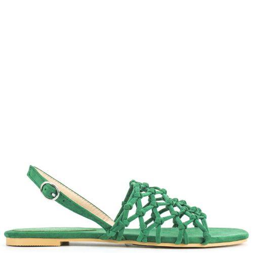 Green suede flat sandal