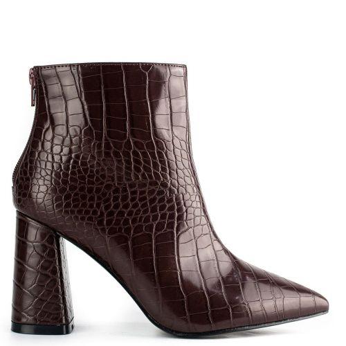 Brown high heel croc bootie