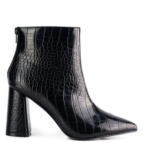 Black high heel croc bootie