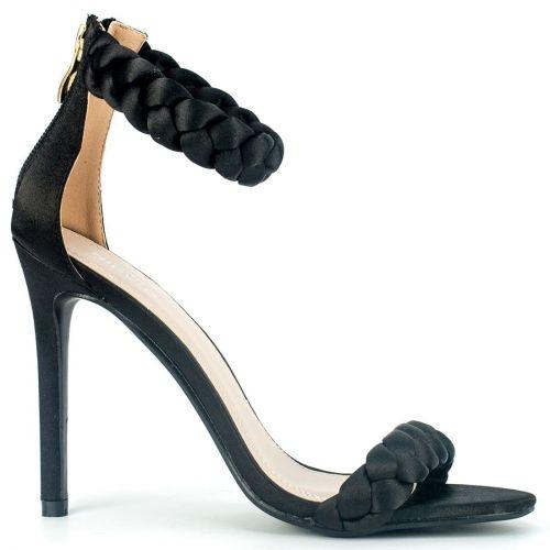 Black satin high heel sandal