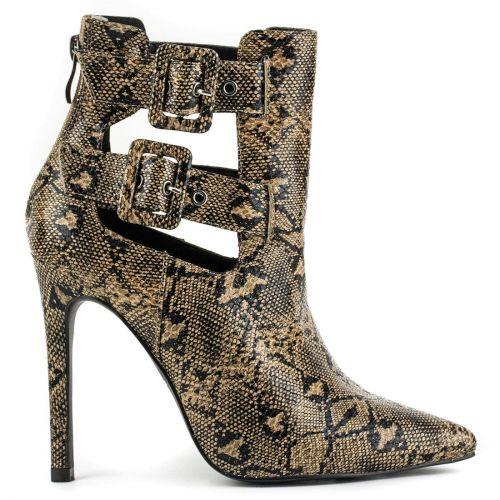 Beige high heel snakeskin bootie