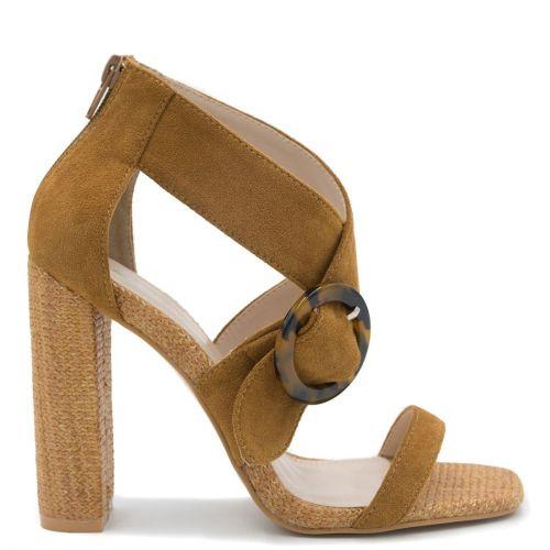 Camel high heel sandal with buckle