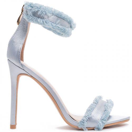 Light blue satin sandal with fringes