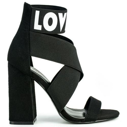 Black elastic multistrap sandal