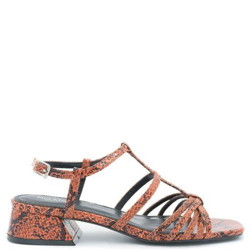 Orange snakeskin sandal