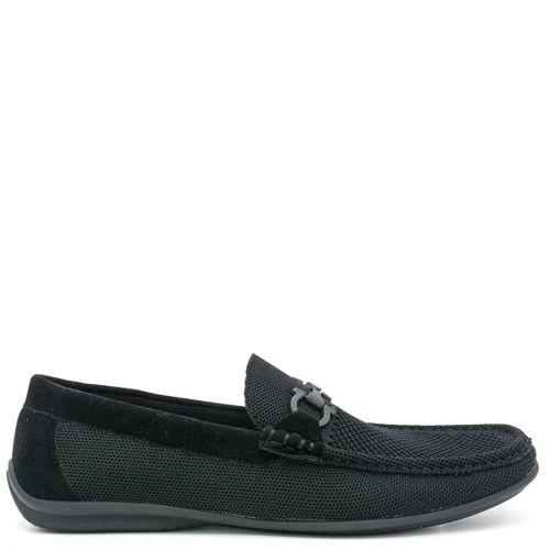 Men's black textile moccasin