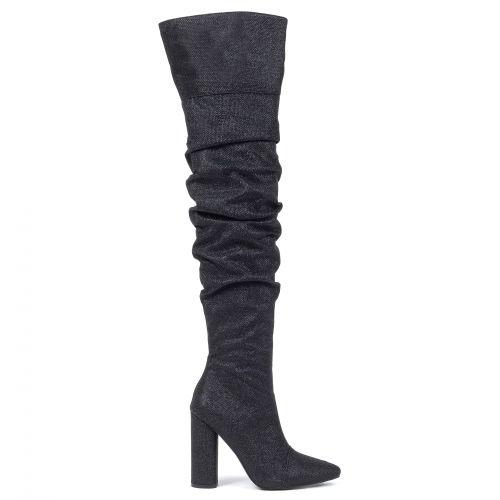 Μαύρη μεταλλιζέ μπότα πάνω από το γόνατο