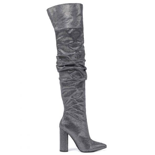 Ατσαλί μεταλλιζέ μπότα πάνω από το γόνατο