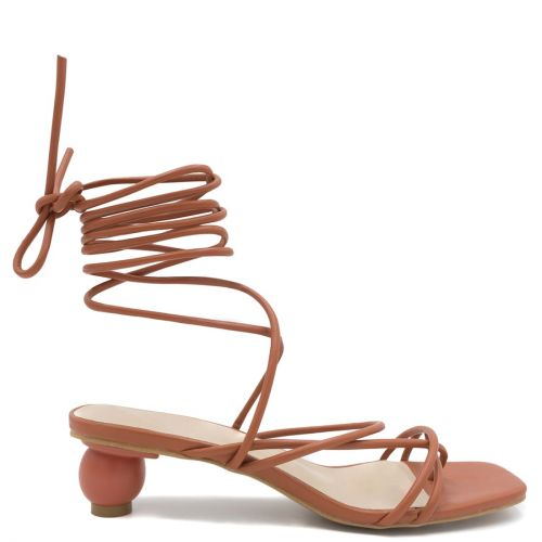 Orange lace up sandal