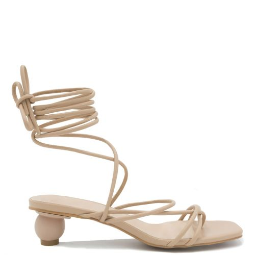 Beige lace up sandal