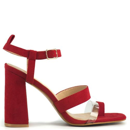 Red high heel sandal with pvc