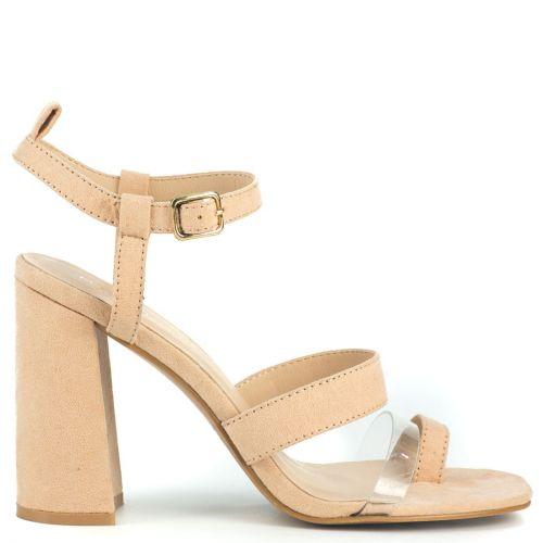 Nude high heel sandal with pvc