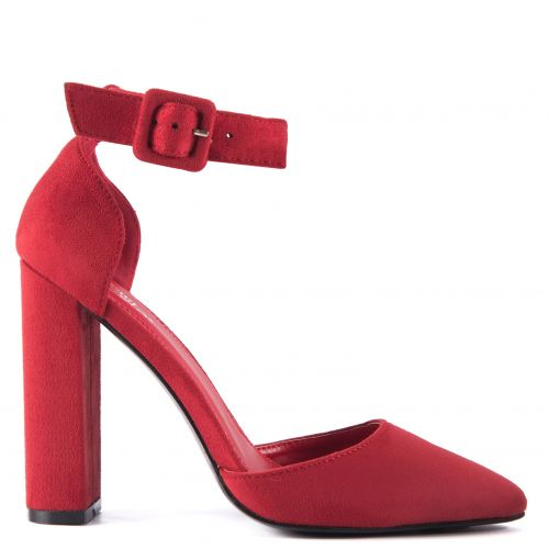 Red pump with strap