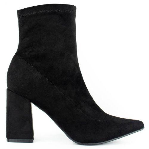 Black suede high heel bootie