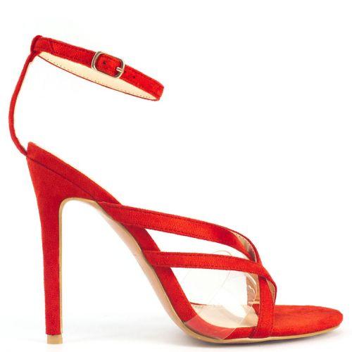 Orange high heel sandal with pvc