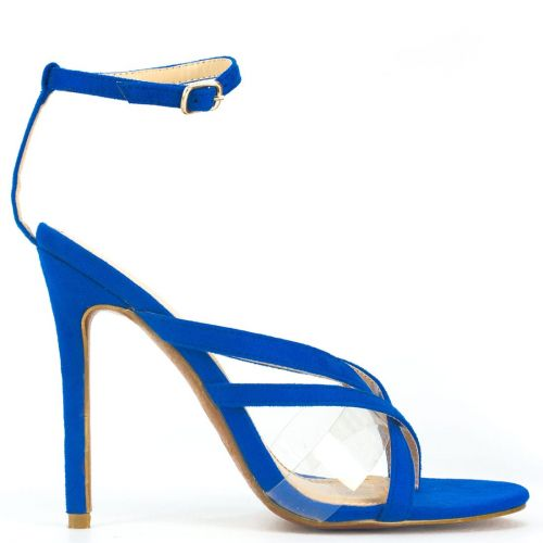Royal blue high heel sandal with pvc