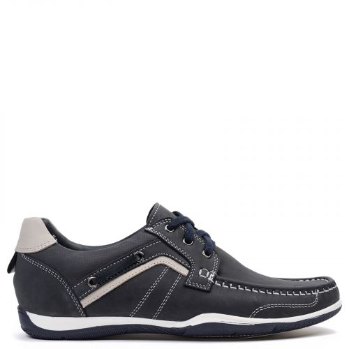 Men's dark blue leather moccasin